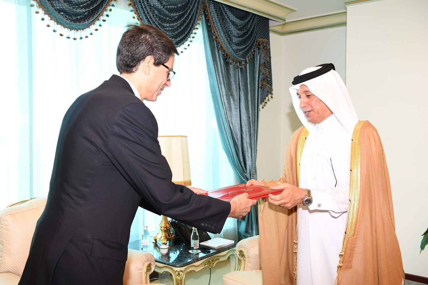 HE Minister of State for Foreign Affairs Receives Credentials' Copies of Morocco, Peru, Cuba Ambassadors