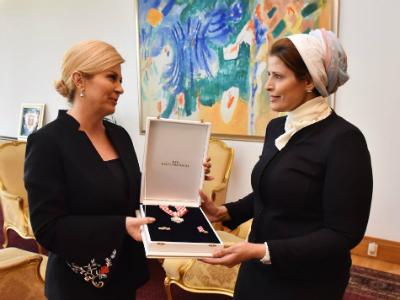 رئيسة كرواتيا تستقبل سفيرة دولة قطر