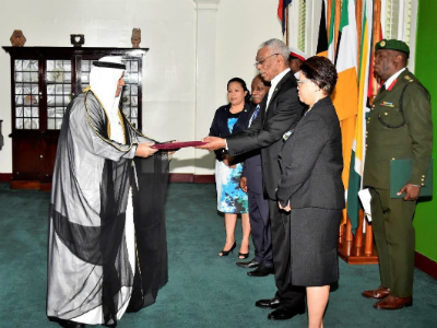President of the Republic of Guyana Receives Qatar Ambassador Credentials
