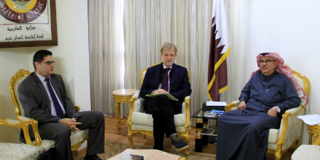 Chairman of Qatari Committee for Reconstruction of Gaza Meets WFP and WHO Representatives