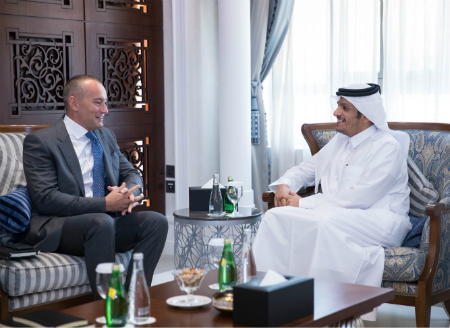 نائب رئيس مجلس الوزراء وزير الخارجية يجتمع مع المنسق الأممي لسلام الشرق الأوسط