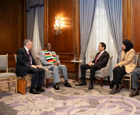 نائب رئيس مجلس الوزراء وزير الخارجية يلتقي رئيس زيمبابوي