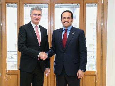 نائب رئيس مجلس الوزراء وزير الخارجية يجتمع مع وزراء خارجية النرويج ومالطا وإيطاليا