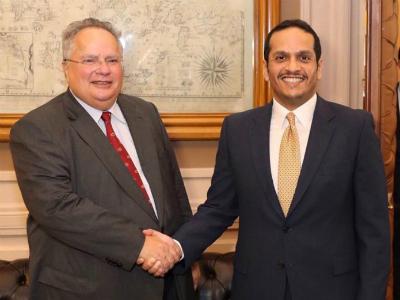 نائب رئيس مجلس الوزراء وزير الخارجية يجتمع مع وزير الخارجية اليوناني