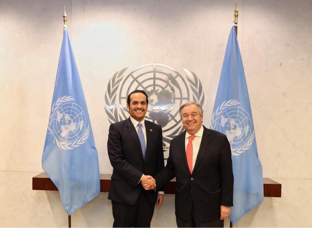 نائب رئيس مجلس الوزراء وزير الخارجية يجتمع مع الأمين العام للأمم المتحدة
