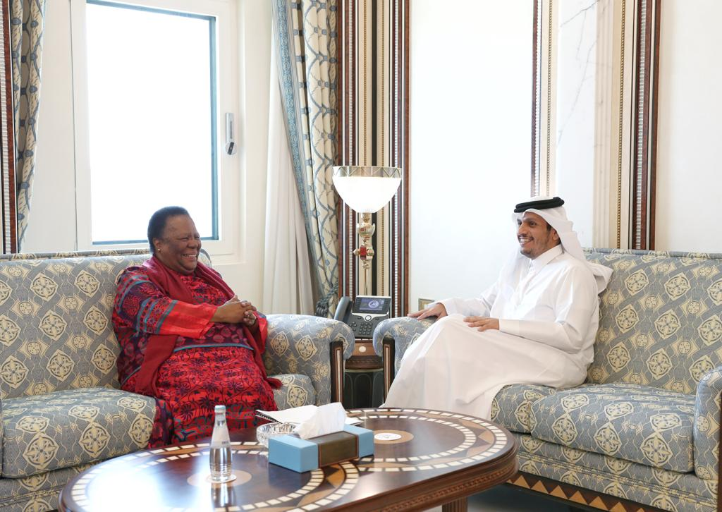 نائب رئيس مجلس الوزراء وزير الخارجية يجتمع مع وزيرة العلاقات والتعاون الدولي في جنوب إفريقيا