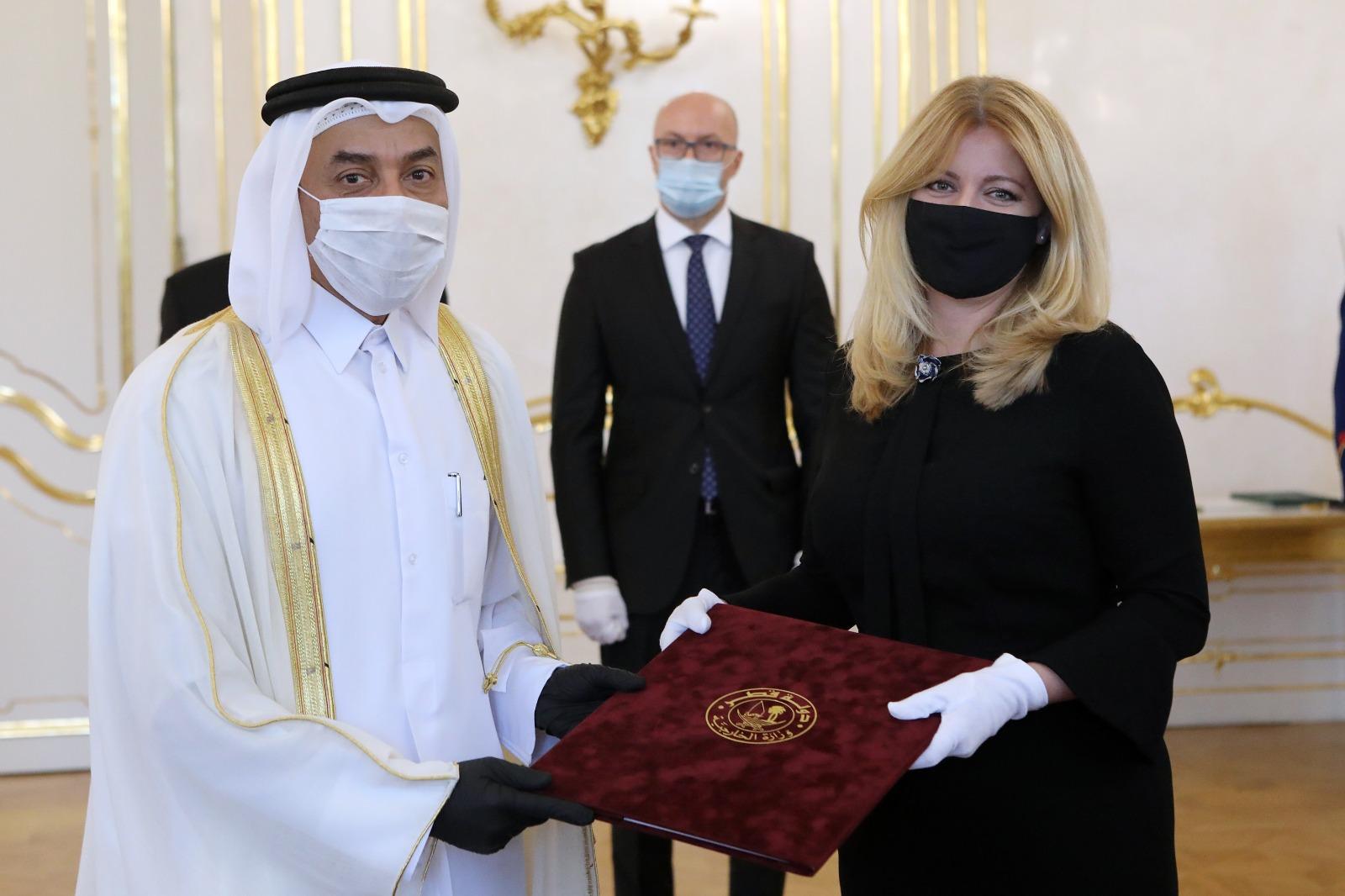 President of Slovak Republic Receives Credentials of Ambassador of Qatar