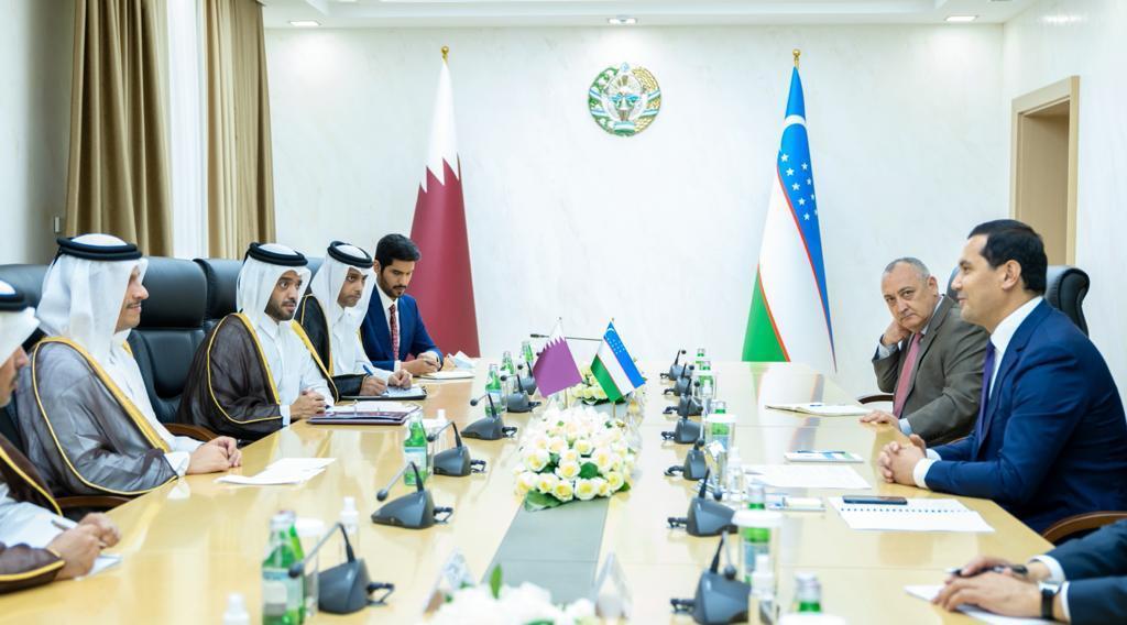 نائب رئيس مجلس الوزراء وزير الخارجية يجتمع مع نائب رئيس الوزراء وزير الاستثمار والتجارة الخارجية في أوزبكستان
