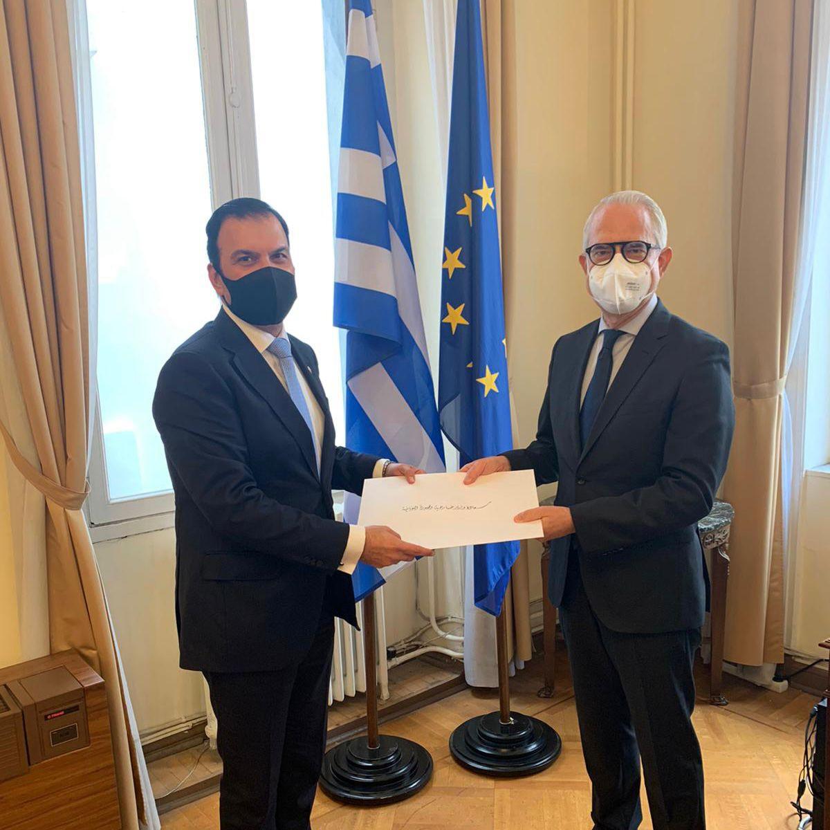 الخارجية اليونانية تتسلم نسخة من أوراق اعتماد سفير دولة قطر