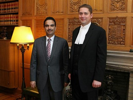 Canadian Speaker of the House of Commons Meets Qatar's Ambassador