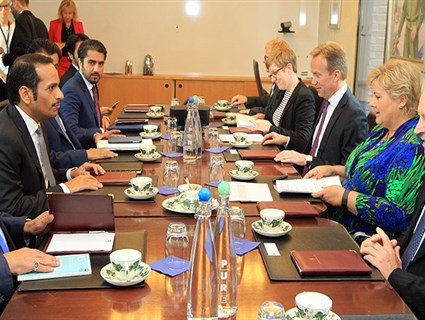 Prime Minister of Norway Meets HE Foreign Minister of Qatar