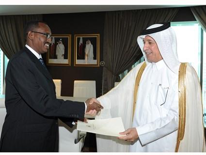 HE Al Muraikhi Receives Copy of Djibouti Ambassador's Credentials